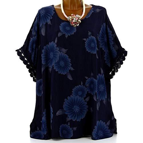 Subfamily Frauen Plus Größe Halbarm Blütenspitze Print O-Ausschnitt Bluse Pullover Tops Shirt Beiläufig Hemd Sommer und Herbst Bluse