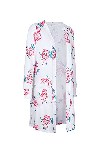 Minetom Femme Été Automne Cardigan Longue Impression Floral Veste Mode Tops Kimono Outwear Blousons Blanc