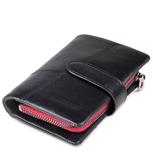 Contacts Männer echtes weiches Leder Bifold Trifold Brieftaschen-Münzen-Taschen-Geldbeutel-Schwarzes