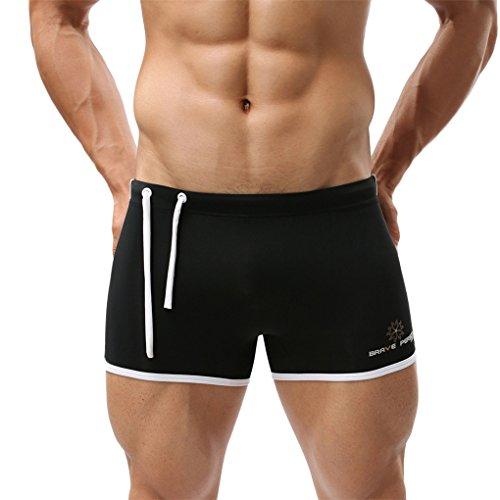 Herren Bekleidung Bademode Sommer Shorts Mode Lässig Sport Hosen Sexy Männer Unterwäsche Shorts Sport Bademode Flache Unterwäsche Hot Pants Surf Shorts Kordelzug flache Badehose (S, Schwarz) (Hurley Boxer)