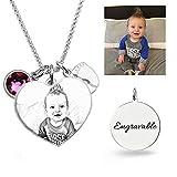 JF Personalisierte Foto-Halskette Herz graviert Mütter Halskette mit Birthstone für Mama Custom Made mit jedem Foto