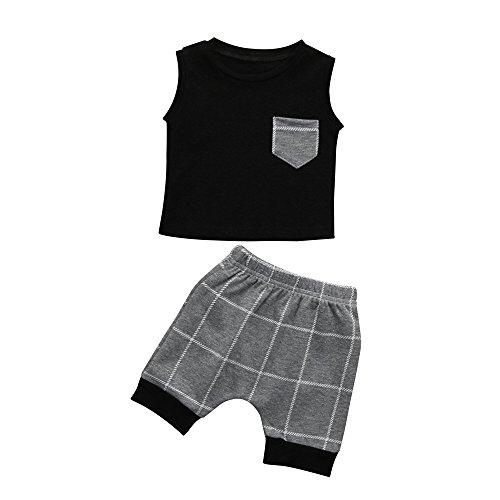 MOIKA Baby Jungen Kleidung Set, 3-18Monate Kleinkind Kleinkind Baby Jungen Mädchen Plaid Tops T Shirt Weste Shorts Outfits Streetwear