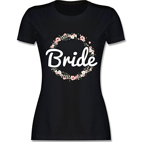 Shirtracer JGA Junggesellinnenabschied - Bride Blumenkranz - Damen T-Shirt Rundhals Schwarz