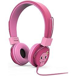 MoKo Auriculares para Niños - Ajustable Headphone Limitador Volumen por Cable (1.5m / 4.9ft), Kid Earphone para iPhone, iPad, iPod, Smartphones Android, PC, Dragon Touch Y88X Kids Tablet, Magenta