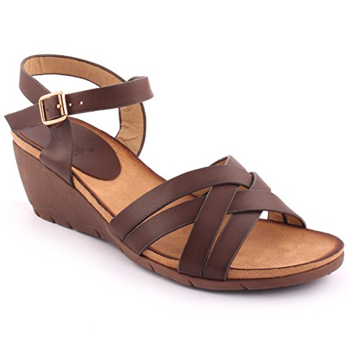 Unze Nouveautés Femme 'Eric' Open Toe Wedge Sandales Summer Beach Travel School School Carnival Chaussures Casual Taille UK 3-8 Café