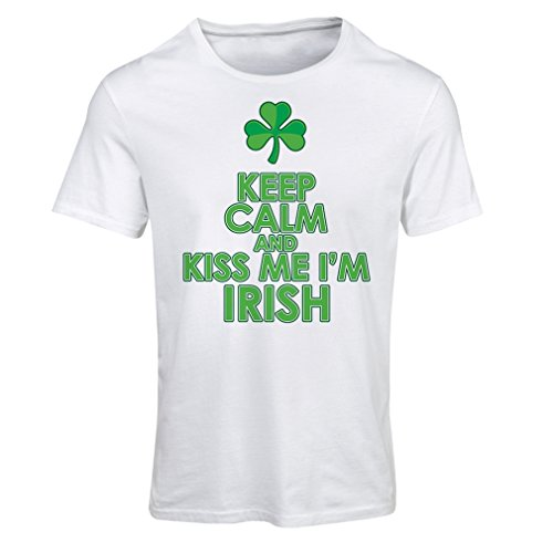 T shirts for women Kiss me I'm Irish, Saint Patrick day jokes quotes shirts (X-Large Bianco Multicolore)