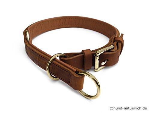 Zugstopp Lederhalsband gefüttert für Hunde hellbraun cognac Messing, Hundehalsband Leder (40 (Halsumfang 34cm - 37cm))