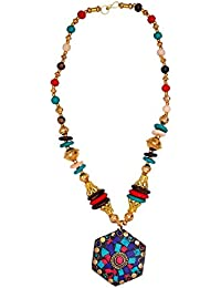 Purpledip Necklace Chain With Glass Beads & Red Blue Mosaic Work Brass Pendant; Unique Traditional Wear Design...