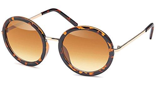 UVprotect große Damen Retro John Lennon Style Rundbrille Sonnenbrille mit Kunststoff Design Rahmen havana W77-4