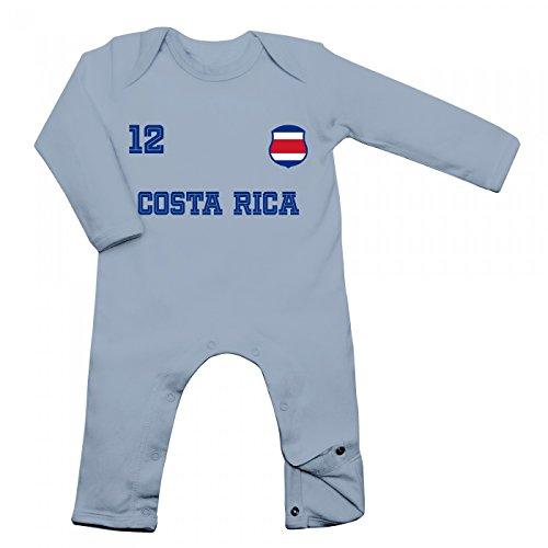 Shirt Happenz Costa Rica Weltmeisterschaft 2018#24 Babybody Fan Trikot Fußball Weltmeisterschaft Nationalmannschaft Langarm Langärmliger Strampler, Farbe:Babyblau (Dusty Blue BZ13);Größe:3-6 Monate