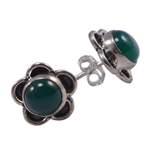 Silvestoo India Green Onyx Gemstone 925 Sterling Silver Earring For Women & Girls PG-102911