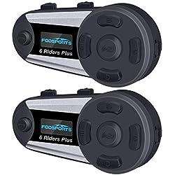 Fodsports Intercom Moto Bluetooth, V6 Plus Casques Kit Moto Main Libre Ecouteur Bluetooth avec écran LCD, Connecter Jusqu'à 6 Riders pour Moto,Vélo (2 pièces )