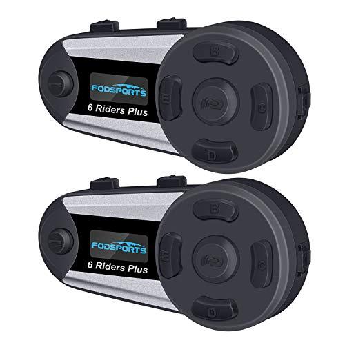 FODSPORTS Motorrad Gegensprechanlage Headset für bis zu 6 Reiters, 1200M mit OLED Bildschirm Bluetooth Kommunikationssystem Intercom Wasserdicht umfassen Festes Kabel und Weiches Kabel(2 Stücke) Kommunikationssysteme
