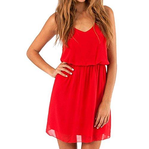 "Cassiecy Damen Strandkleid Ã""rmellos V-Ausschnitt Chiffon Casual doppel Schulterrieme Elegant Sommerkleid Partykleid (Rot XXL)"
