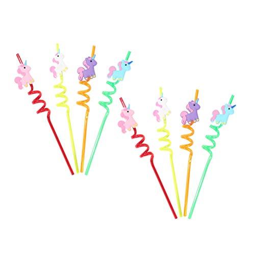 Toyvian Unicorn Party Favors - Riutilizzabile Unicorno Twister Cannucce per Bambini Ragazze, 8 Pezzi / Set, Colore Misto