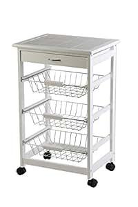Archimede Archimede Küchenwagen, Holz, Weiß