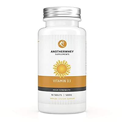 50% OFF Black Friday & Cyber Monday SALE ! The Ultimate Vitamin D3 5000 IU By ANOTHERWHEY - 90 Tablets Suitable For Vegans - High Potency Sunshine Vitamin D3 - Immune, Dental & Bone System Support - Easily Swallowable Tablets - No GMO - FREE GIFT with Eve