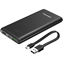 Power bank, Tronsmart 10000mAh Batería Externa Quick Charge 3.0 Cargador Portátil para iPhone, Samsung, Xiaomi, Huawei y otros Dispositivos -Negro