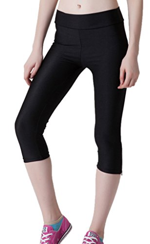 Smile YKK Legging Gainant Femme Pantalon Taille Haute Sport Yoga Jogging Running Casual Mode Noir