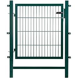 Gartentor Easy ( Besonderheit : kein ausrichten der Pfosten notwendig durch Querverbindung ! ) , BxH 1 x 1 m, grün - Tor für Doppelstabmattenzaun - sehr stabile Ausführung - komplett mit Pfosten, Montagematerial & Schloss