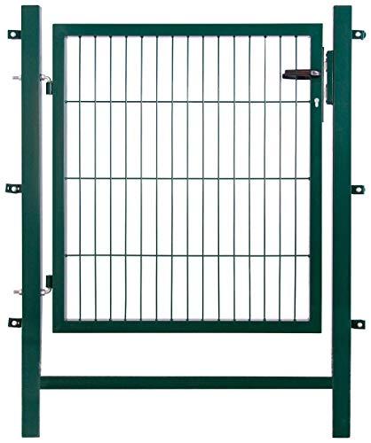 Gartentor Easy ( Besonderheit : kein ausrichten der Pfosten notwendig durch Querverbindung ! ) , BxH 1 x 1 m, grün - Tor für Doppelstabmattenzaun - sehr...