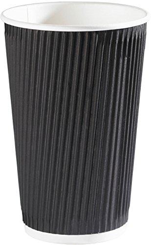 Thali Outlet® – 100 x Noir Kraft Ripple 3 plis jetables isotherme papier Tasses pour thé café Cappuccino Boisson chaude, Noir, 16oz