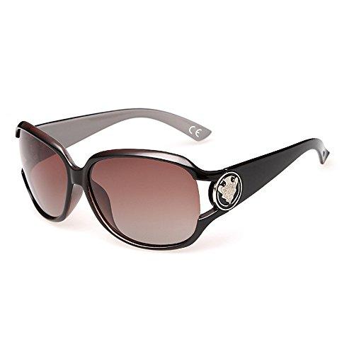 VeBrellen Damen Mode Polarisiert Oversize Sonnenbrille 100% UV-Schutz VS005 (Coffee)