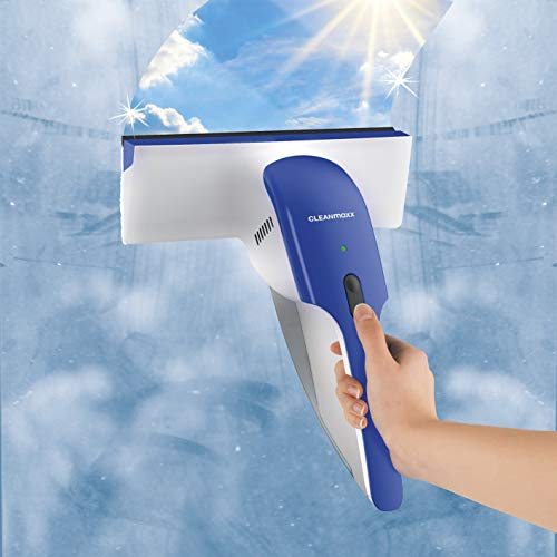 CLEANmaxx Akku-Fenstersauger Neuentwicklung 2019! EINZIGARTIGES DESIGN! Nur EIN Arbeitsgang mit EINEM Gerät nötig (XXL Akku: Ca. 25 Minuten Dauerbetrieb)