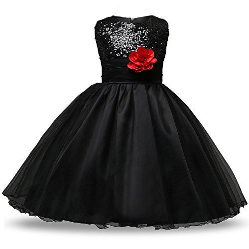 n Blume Rock Sommer Sequins Kleider Kleinkinder Ärmellos Prinzessin Fancy Kostüm Kleid, Schwarz (J Kostüme Für Fancy Dress)