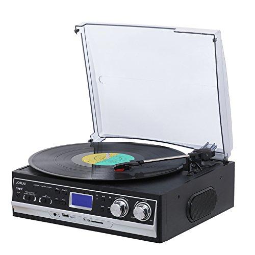 JORLAI Lecteur Tourne-Disque Bluetooth à 3 Vitesses avec Haut-parleurs stéréo intégrés, Enregistrement de ers MP3/USB/SD, de Radio AM / FM, d'entrée et de Sortie auxiliaire RCA