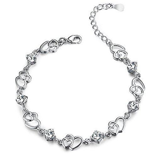 findout Amethyst rot, rosa, blau, weiß-Kristallherz-Silber-Armband für Frauen Mädchen. (weißen Kristall)
