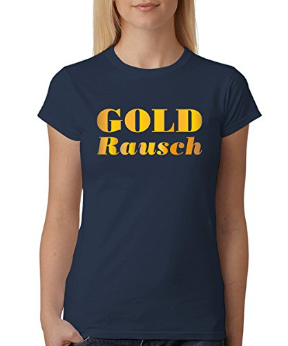 clothinx ::: GOLDRAUSCH ::: Unisex T-Shirt Navy, Größe XL (Mona Lisa Kostüm)