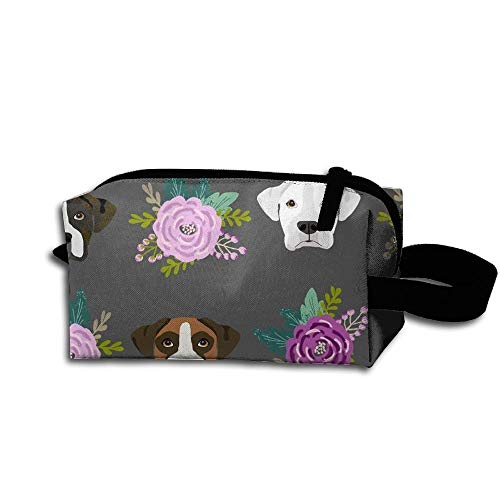 Travel Makeup Boxer Dogs and Flower Beautiful Waterproof Cosmetic Bag Quick Makeup Bag Pencil Case -
