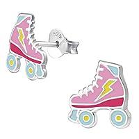 Monkimau Girl Earrings Roller Skate Stud Earrings in 925 Sterling Silver Silver
