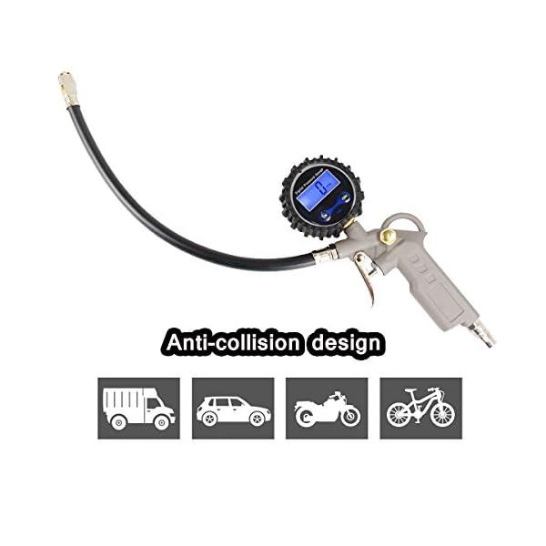Manómetro Digital Medidor Presión de Neumáticos Metal Pantalla LCD 4 Ajustes Motocicletas Automóviles Coche