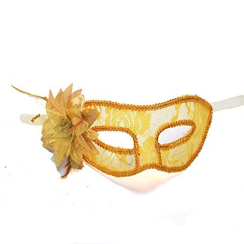 Neid Halloween Kostüm - Halloween Halbmaske Gesicht Venezianischen Stil Männer und Frauen Transparente Spitzenmaske Karneval Erwachsene Rollenspiele Party Ball Maskerade Multi Farbe,Yellow