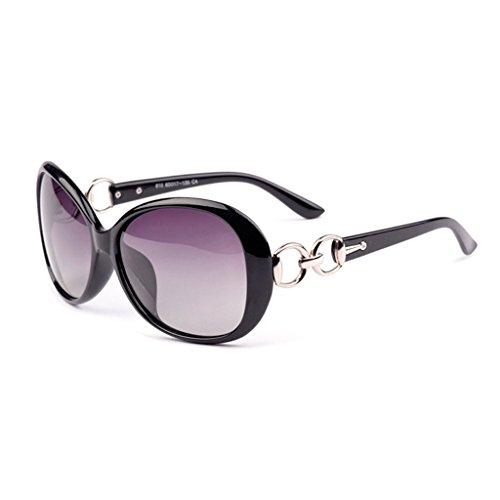 HMILYDYK Retro de las mujeres gran tamaño gafas de sol polarizadas resina redondo espejo Premium marco Gafas de protección UV400con Funda, Black Frame Purple Lens