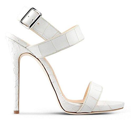 SYYAN Femmes En Europe Et En Amérique En Cuir Bout Ouvert Fabriqué à La Main Pompe Robe Sandal Blanc White