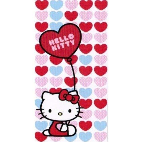 """Strandtuch, Badetuch, Saunatuch, """"Hello Kitty"""" Motiv: Blue & Red hearts - Blaue und rote Herzen - 150 x 75 cm - 100% Baumwolle - Lieferung sofort ab Lager"""