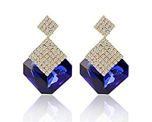 Glitz Fashion Elegant Temperament White Zircon Multi-Colours Crystal Fashion Jewelry Dangle Earrings For Women