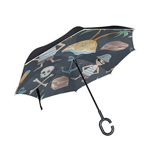 er Inverted Reverse Regenschirme Crossbone Skull Pirate Boy Schwert Anker Folding Windproof UV-Schutz Big Straight für Auto mit C-förmigen Griff ()