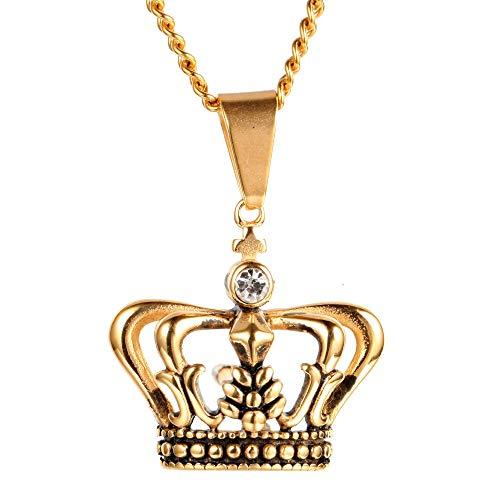 Edelstahl Männer Halsketten Kette Anhänger Royal Crown Gold Silber Punk Rock Hip Hop Cool Für Männliche Junge Mode Schmuck Geschenk 60cm (Männer's Crown Royal Kostüm)