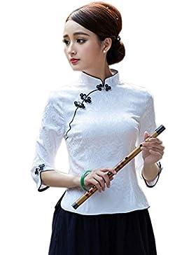 XueXian(TM) Mujer de Tang Ropa de Blusa de Manga de Elegante Tradicional Shirt