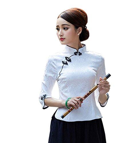 ACVIP Damen Retro Sieben Punkte Ärmel Kunst Schicke Süß Art Cheongsam Bluse (EU 42/ Chinese 2XL, Weiß)