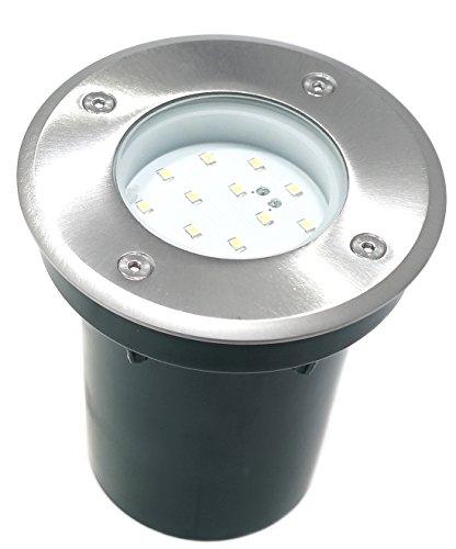 230V LED Terrassenspot Bodeneinbaustrahler Wegbeleuchtung nur 1,2 Watt Verbrauch Bodenstrahler Edelstahl Gartenbeleuchtung RUND warmweiss Gordo IP67 begehbar für Innen - Aussen geeignet