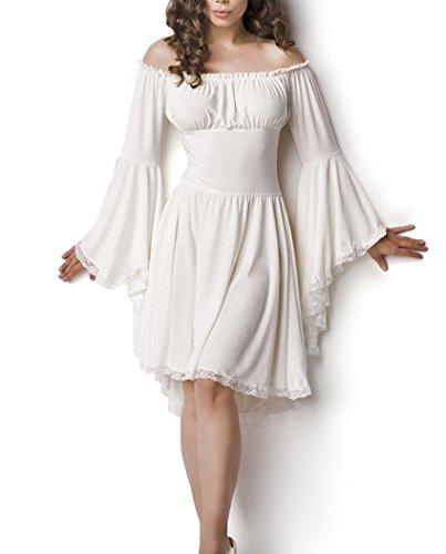 Weißes Mittelalter Kleid aus Jersey mit Trompetenärmeln und Carmenausschnitt Spitzenbesatz Mittelalteroutfit mit Raffung Piraten (Kleid Weiss Mittelalter)
