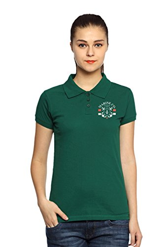 Adro Women's Cotton Polo T-Shirt (Green)(PN-W-MRN-GRE-XS)  available at amazon for Rs.199
