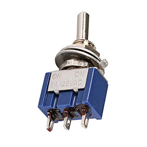 HEALLILY 3 Wege AC ON-ON SPDT 2 Position Rastkippschalter 6A 125V für E-Gitarren Parts (Blau) GN108 -