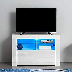 Anaelle Panana Meuble TV LED en MDF avec 5 Compartiments de Stockage sur Salle de Séjour, Salon et Chambre à Coucher etc, Taile: 100 x 35 x 65 cm, Poids: 26 kg (Blanc)