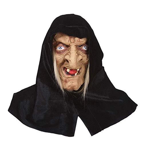 YaPin Halloween Maske Hexe Gesicht Latex Kopfbedeckungen Scary Spukhaus Spielzeug Horror Erwachsene Weibliche Dekorative Gesichtsmaske (Hexe Die Hälfte Halloween-make-up)